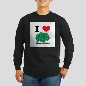 I Heart (Love) Green Beans Long Sleeve Dark T-Shir