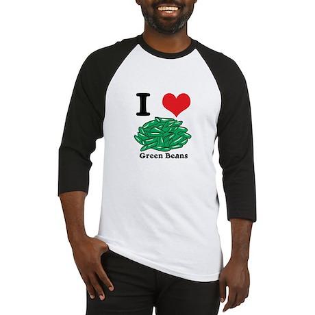 I Heart (Love) Green Beans Baseball Jersey