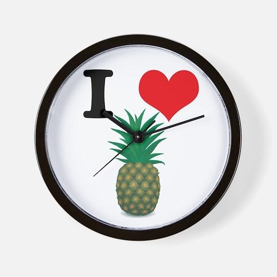 I Heart (Love) Pineapple Wall Clock