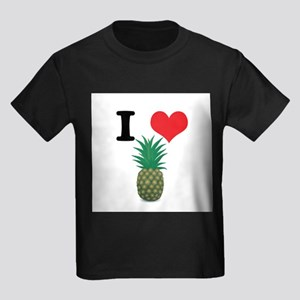 I Heart (Love) Pineapple Kids Dark T-Shirt