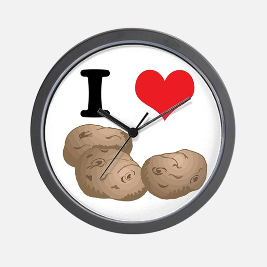 I Heart (Love) Potatoes Wall Clock