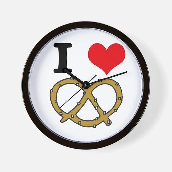 I Heart (Love) Pretzels Wall Clock