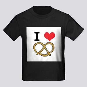 I Heart (Love) Pretzels Kids Dark T-Shirt