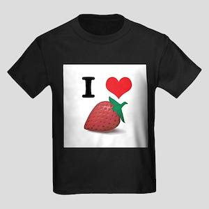 I Heart (Love) Strawberries Kids Dark T-Shirt