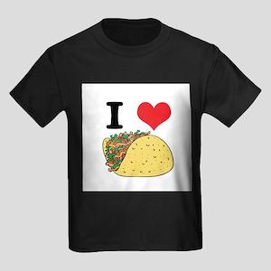 I Heart (Love) Tacos Kids Dark T-Shirt