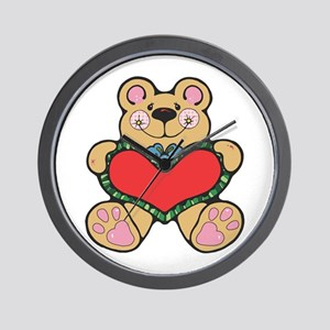 Valentine's Country Teddy Bea Wall Clock