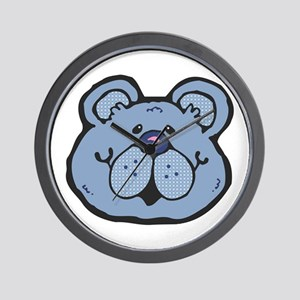 Cute Blue Country Bear Wall Clock