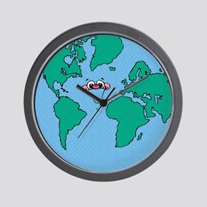 Happy Smiling Earth Wall Clock