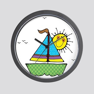 Cute Sail Boat and Sun Wall Clock