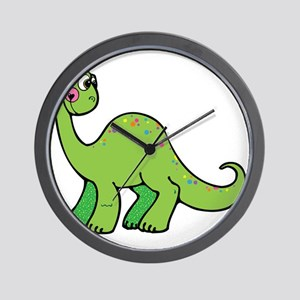 Cute Green Brontosaurus Dinos Wall Clock