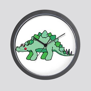 Cute Green Stegasaurus Dinosa Wall Clock