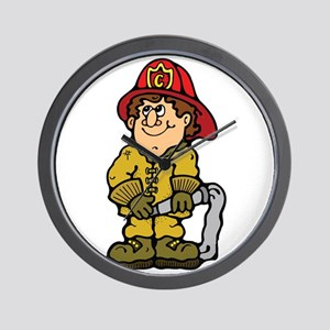Happy Little Fireman Wall Clock