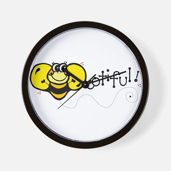 Bee-ootiful (Beautiful) Desig Wall Clock