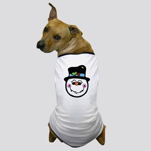 Cute Silly Snowman Face Dog T-Shirt