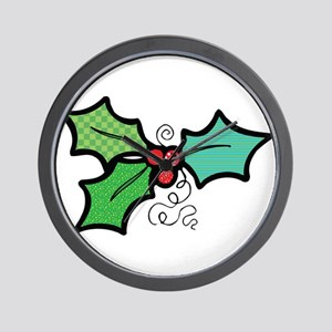 Cute Mistletoe (Holly) Design Wall Clock