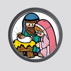Cute Nativity Scene Wall Clock