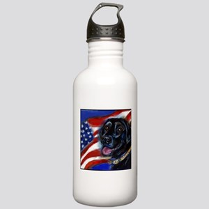 Black Labrador American Flag Water Bottle 1.0 Stai