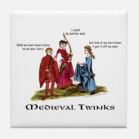 Medieval Twinks Tile Coaster