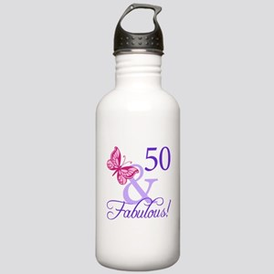 50th Birthday Butterfly Stainless Water Bottle 1.0