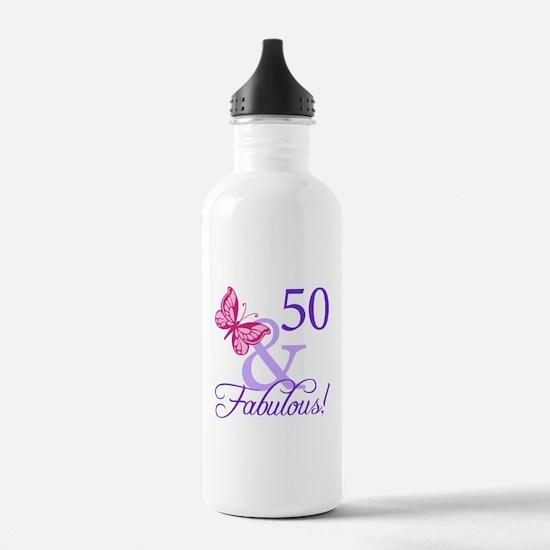 50th Birthday Butterfly Water Bottle