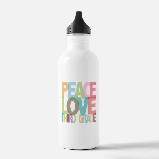 Peace Love Third Grade Sports Water Bottle