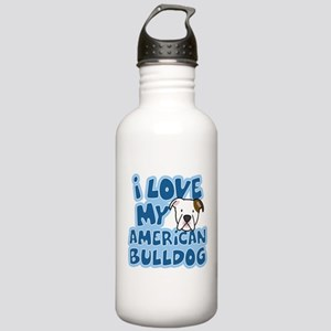 I Love my American Bulldog Stainless Water Bottle