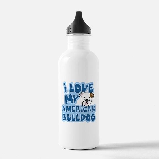 I Love my American Bulldog Water Bottle