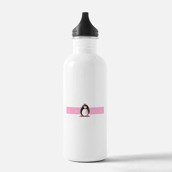 Pink Ribbon Penguin Water Bottle