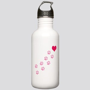 Pink Paw Prints To My Heart Stainless Water Bottle