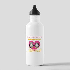I Love My Soldier Penguin Sty Stainless Water Bott