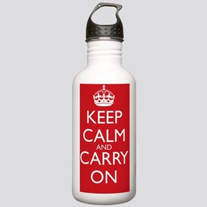 Red Keep Calm and Carry On 1L Water Bottle Stainle