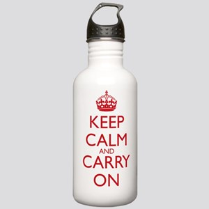 Red Text Keep Calm and Carry On 1L Water Bottle St