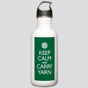Green Keep Calm and Carry Yarn Bottle 1.0L Stainle