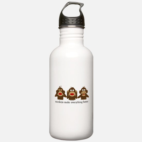 3 Wise Sock Monkeys Water Bottle