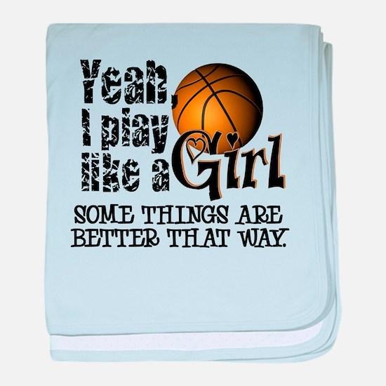 Play Like a Girl - Basketball baby blanket