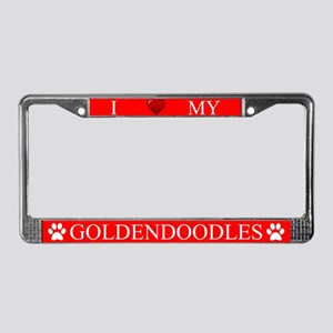 Red I Love My Goldendoodles License Plate Frame