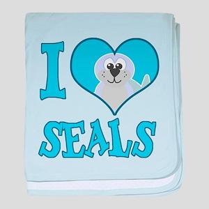 I Love (Heart) Seals Infant Blanket