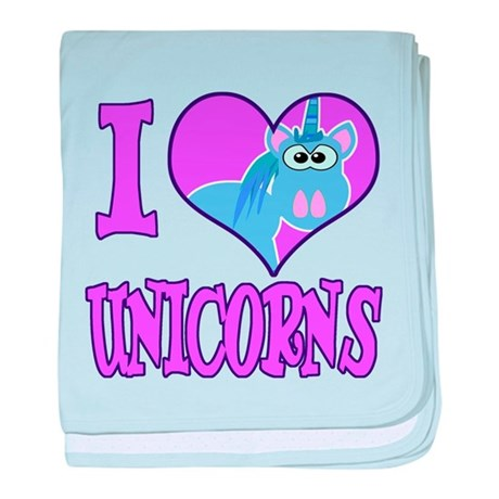 I Love (Heart) Unicorns Infant Blanket