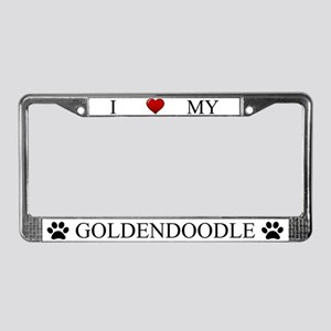 White I Love My Goldendoodle License Plate Frame
