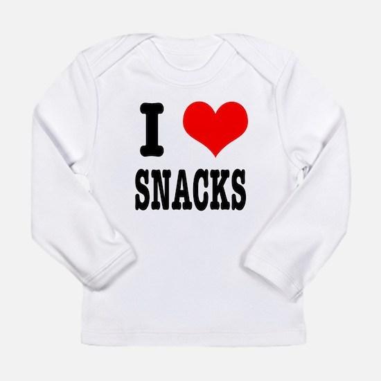 I Heart (Love) Snacks Long Sleeve Infant T-Shirt