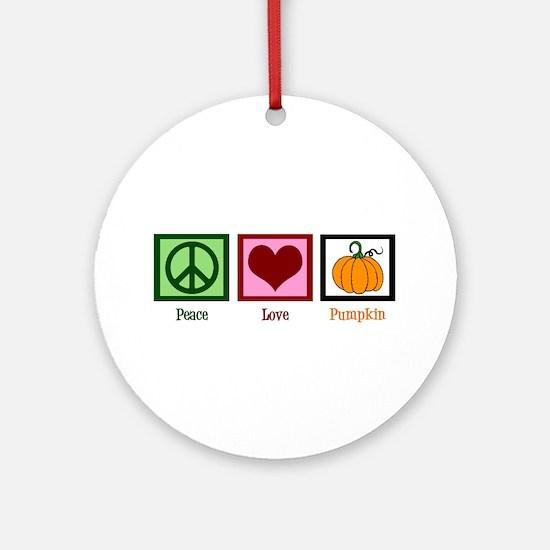Peace Love Pumpkin Ornament (Round)