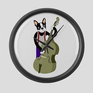 Boston Terrier Bass Player Large Wall Clock