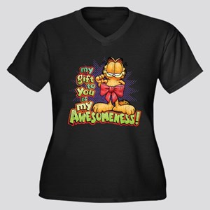 My Awesomeness Women's Plus Size V-Neck Dark T-Shi