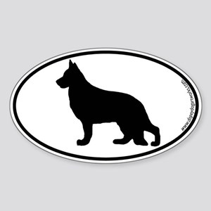 German Shepherd SILHOUETTE Oval Sticker