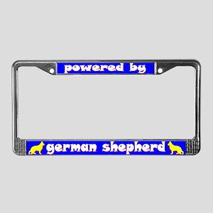 Powered by German Shepherd License Plate Frame