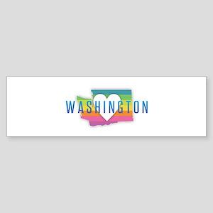 Washington Heart Rainbow Bumper Sticker