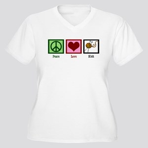 Peace Love Knit Women's Plus Size V-Neck T-Shirt