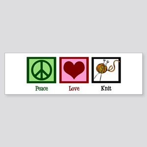 Peace Love Knit Sticker (Bumper)