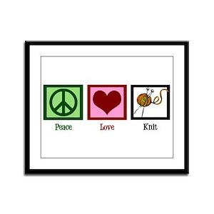 Peace Love Knit Framed Panel Print
