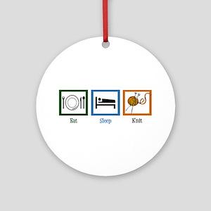 Eat Sleep Knit Ornament (Round)